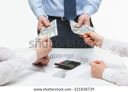 Business partners demanding money from boss, white background - stock photo