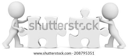 Business Partners. Dude the partners x 2 putting white puzzle pieces together.  - stock photo
