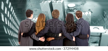 Business partners hugged with an urban background