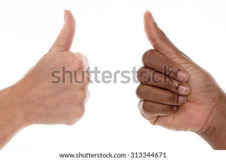 business partners keeping thumbs up -Two woman hands showing thumbs up sign against white background - stock photo
