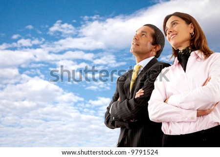 business partners looking out for their future - stock photo