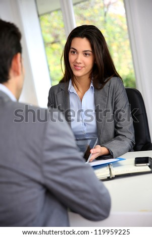 Business partners meeting for agreement - stock photo