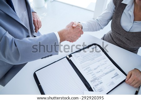 Business partners shaking hand together in an office - stock photo