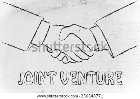 business partners shaking hands: creating a joint venture - stock photo