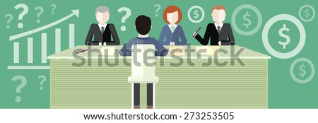 Business partners sitting at table and discussing documents and ideas at meeting. Business consulting concept. Concept flat design style. Promotional materials, presentation templates. Raster version - stock photo