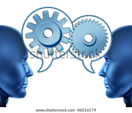 Business partnership and teamwork with two human heads sharing referrals to increase opportunities represented by two faces talking with word bubbles with gears and cogs as symbols of networking. - stock photo