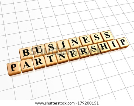 business partnership - text in 3d golden cubes with black letters, teamwork growth concept words