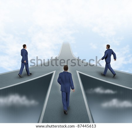 Business partnerships featuring three business men walking on different roads to the same goal as a team working together as a strategic corporate alliance with a sky background. - stock photo