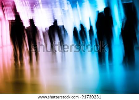 Business passenger walk at subway station - stock photo