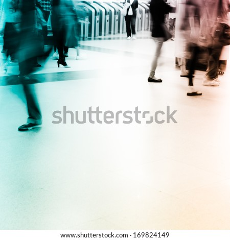 business people activity, walking in the station.  - stock photo