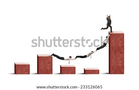 Business people against crisis and negative statistics - stock photo