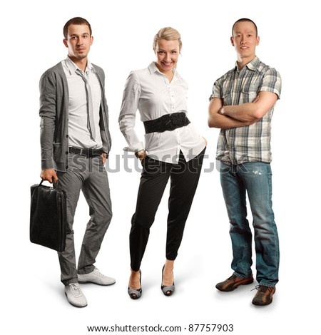 business people against different backgound - stock photo