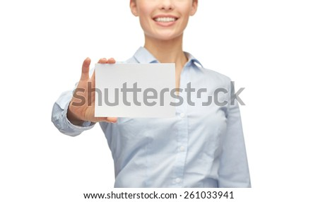 business, people and advertisement concept - smiling businesswoman showing white blank card - stock photo