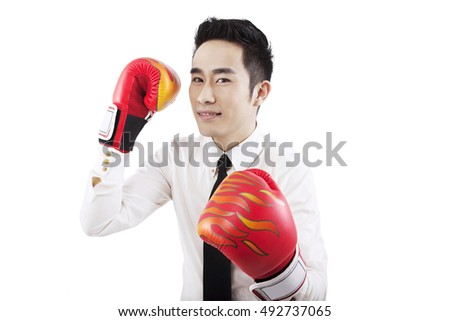 Business people and boxing gloves