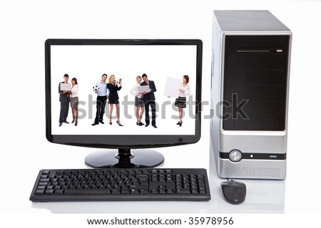 business people and computer technology concept with lcd, desktop, keyboard and mouse - stock photo