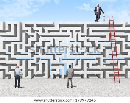 business people and maze wall - stock photo