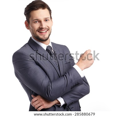 business, people and office concept - businessman in suit - stock photo
