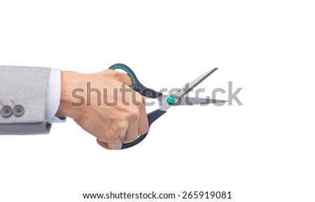 business, people, and office concept - close up of businessman hand holding scissors - stock photo