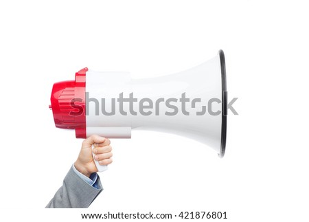 business, people and public announcement concept - closeup of male hand in suit holding large megaphone - stock photo