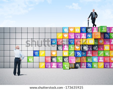 business people and smart icon wall - stock photo