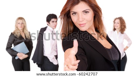 Business people and team. Isolated over white background - stock photo