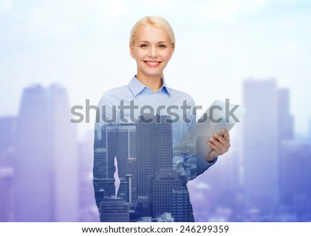 business, people and technology concept - double exposure of smiling businesswoman with tablet pc computer over city background - stock photo