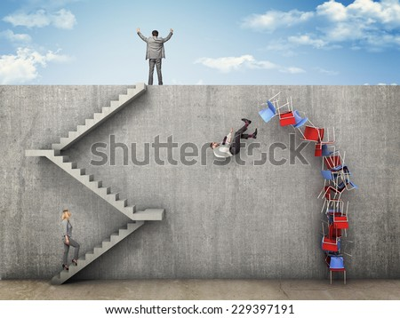 business people and wall challenge - stock photo