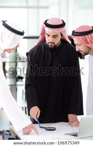 Business people arabic team mates working together - stock photo