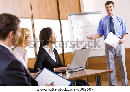 Business people are discussing a new project in the conference room - stock photo