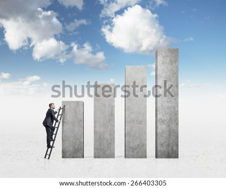 Business people are looking for success. cloudy sky background - stock photo