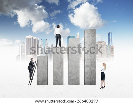 Business people are looking for success. New York city background - stock photo