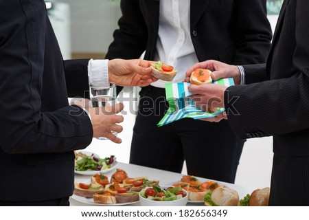 Business people are meeting with breakfast in the morning to discussion - stock photo