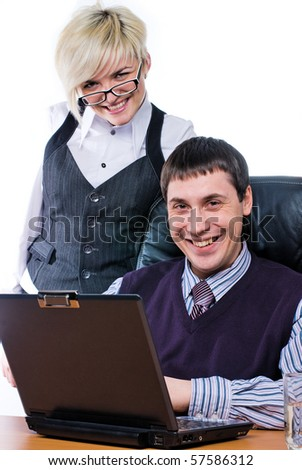 Business people are working on laptop in office