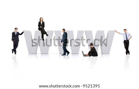 business people around the www - world wide web - stock photo