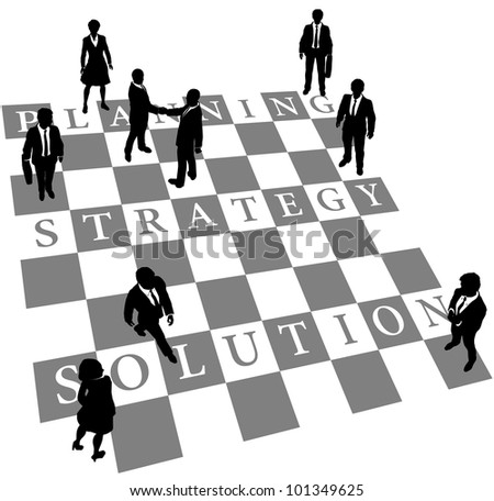 Business people as human chess or checkers pieces on board of Planning Strategy and Solution - stock photo