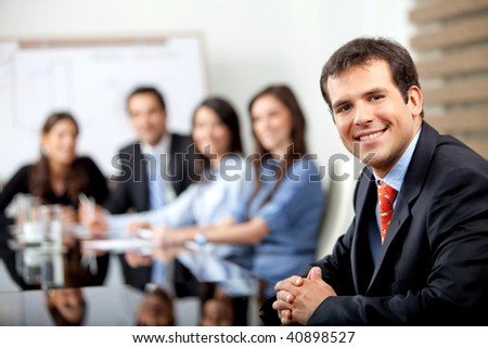 Business people at a meeting at the office - stock photo