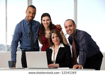 business people at the office as a team