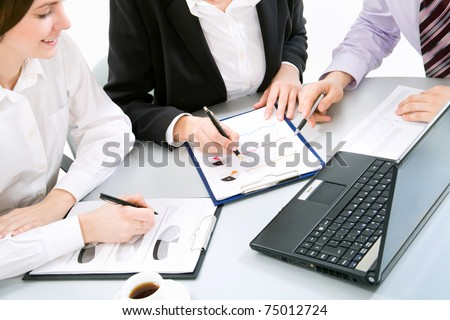Business people at the office. Close up. - stock photo