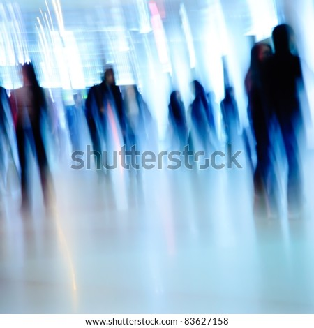 business people background blur motion - stock photo