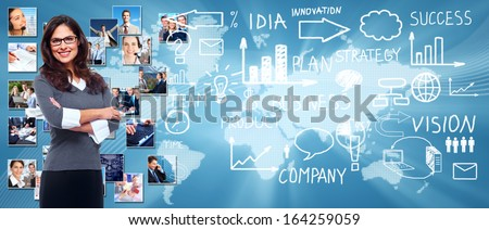 Business people banner collage background design. Success - stock photo