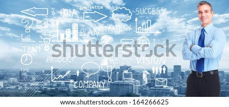 Business people banner collage background. Innovation strategy. - stock photo