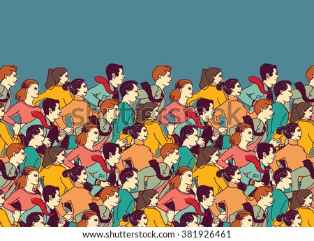 Business people big group competition color. Color illustration.  - stock photo