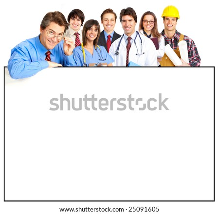 Business people, builder, nurse. Isolated over white background - stock photo