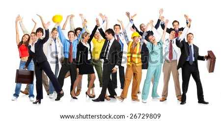 Business people, builders, nurses, doctors, architect. Isolated over white background - stock photo