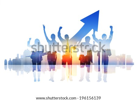 Business People Celebrating Success in a Cityscape - stock photo