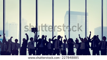 Business People Celebration Silhouette Concept - stock photo