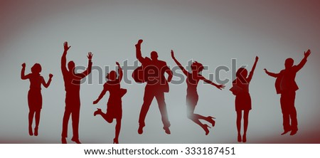 Business People Celebration Success Jumping Ecstatic Concept - stock photo