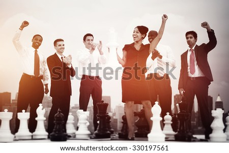 Business People Celebration Winning Chess Game Concept - stock photo