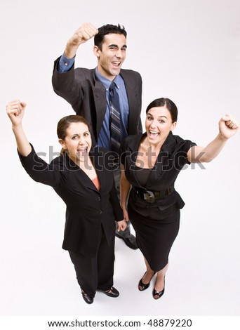 Business people cheering - stock photo