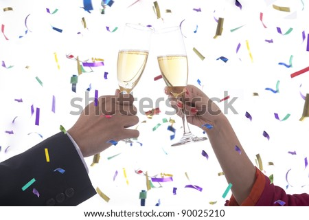 Business people cheering celebrating new year - stock photo